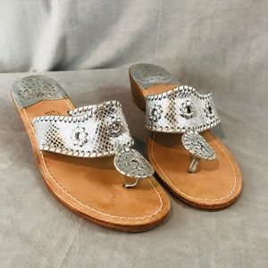 Jack Rogers silver slip on thong sandals size 8
